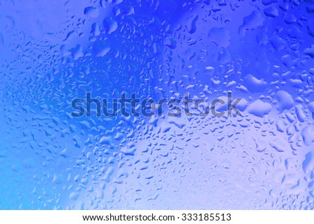 Water droplets on glass,Bright color background