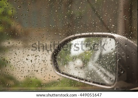 water droplets on glass car.