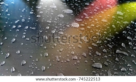 Water droplets with a variety of colors.