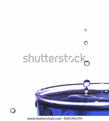 Water drops and splash and glass cup