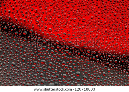 Water drops background, black and red