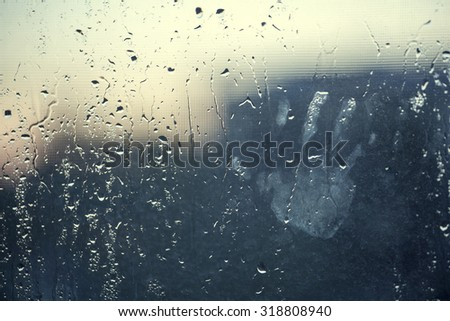 water drops background with chid's hand HD - stock photo