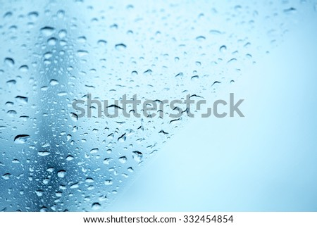 Water drops blue background - stock photo
