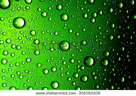 Water drops close up. Abstract Green background of waterdrops, droplets - stock photo