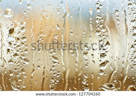 Water drops formed in a crystal abstract figures - stock photo