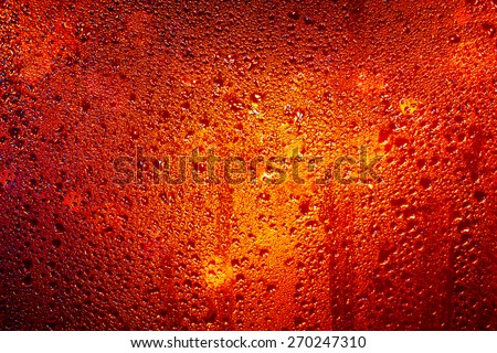 Water Drops Of Rain On Red, Yellow, Orange Glass Background. Street Night Lights - stock photo
