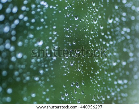 Water drops on a window in the morning