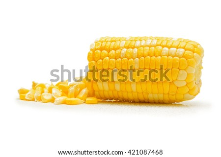 water drops on corn on white background - stock photo