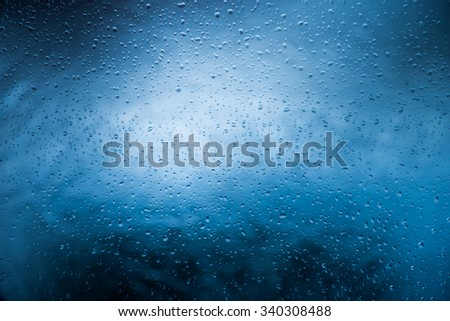 Water drops on glass. Blue Background