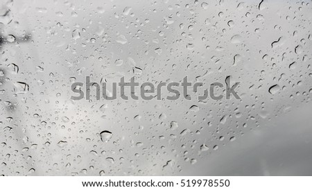 Water drops on glass blurred background