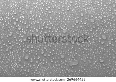 Water drops on glass on light background - stock photo