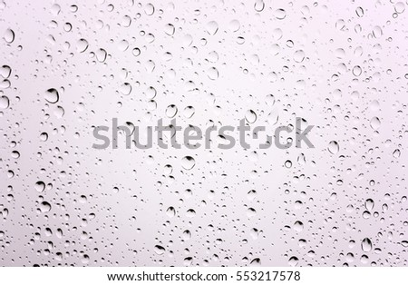 Water drops on glass white abstract background