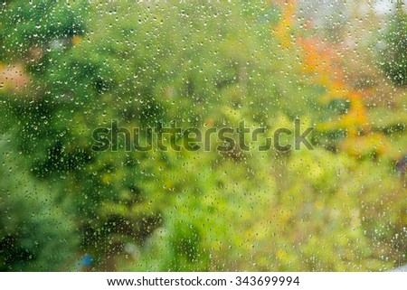 Water drops on glass window. - stock photo