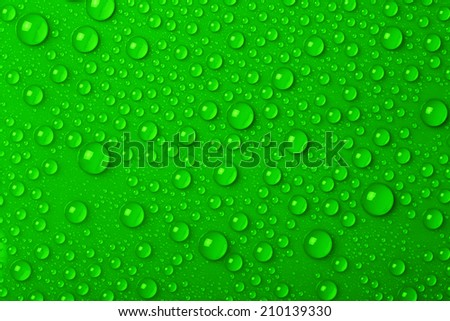 Water drops on green background - stock photo
