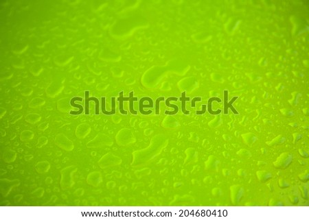 Water drops on green metal surface texture    - stock photo
