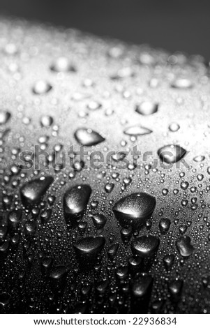 water drops on silver metal surface