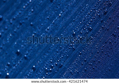Water drops on the background. Condensate. Dark blue background. Water drops background. - stock photo
