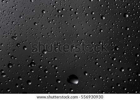 Water drops on the glass close up