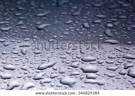 Water drops on the metal