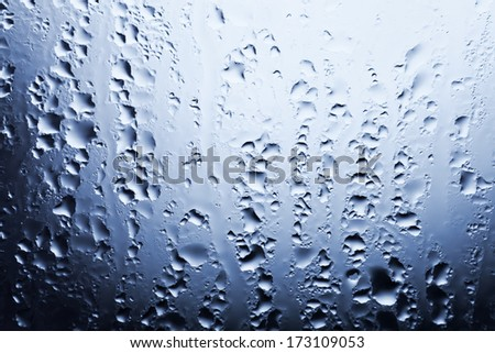 Water drops on the window glass in the rain