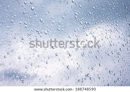 Water drops on window glass, blurred on the edges. Image processing with color filter effects