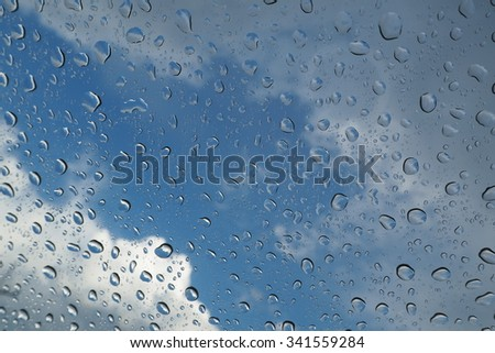 water drops with blue sky background