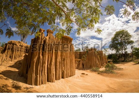 Water erosion effect, collapse or erosion of the land - stock photo