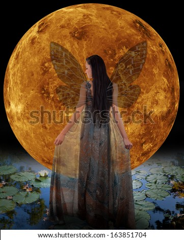 Water fairy in front of a Venus. Elements of this image furnished by NASA. - stock photo