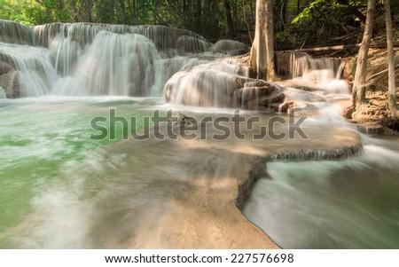water fall Huay Mae Khamin Kanchanaburi Thailand - stock photo