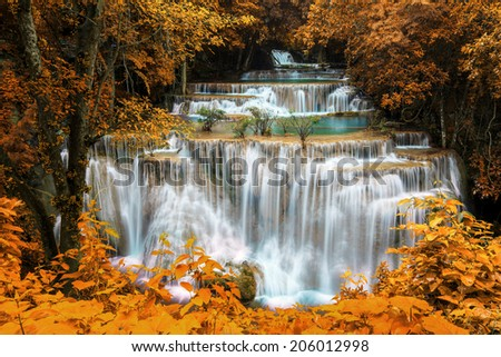 Water fall in autumn, hua mae kamin, famous place in Thailand  - stock photo