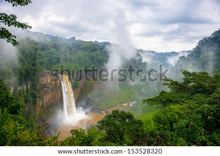 Water fall in Cameroon on a cloudy day - stock photo