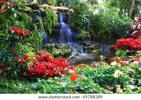 Water fall in garden - stock photo