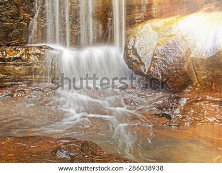 water fall in nature - stock photo