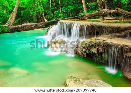 water fall, kanchanaburi thailand - stock photo