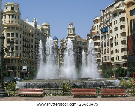 Water fall main square, valencia Spain - stock photo