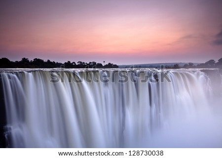 Water fall / morning light - stock photo