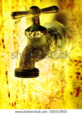 Water faucet dripping water with golden background on hot day - stock photo