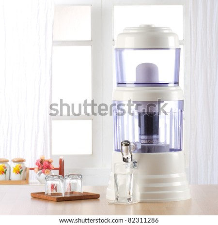 Water filter for cleaning drinking water - stock photo