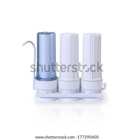Water filter tubes for RO revers osmosis purify drinking water - stock photo