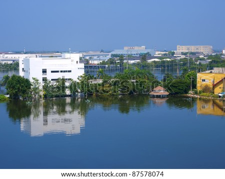 water flood in industrial estate - stock photo