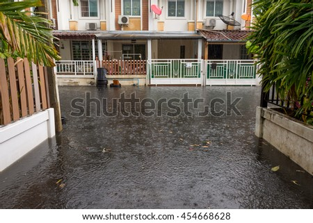 Water flood village in Don Mueang district. Problem with the drainage system. - stock photo