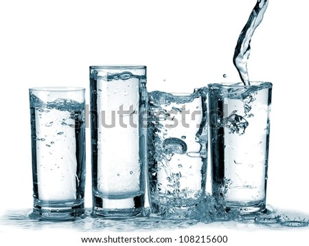 Water flow in four glasses
