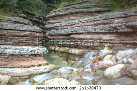 water flow over rocks - stock photo