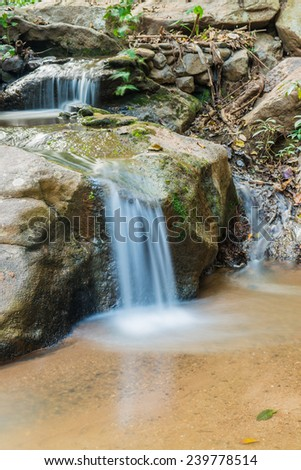 Water Flowing at Maesa Noi Waterfall, Thailand. - stock photo