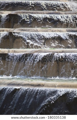 water flowing down the stairs - stock photo