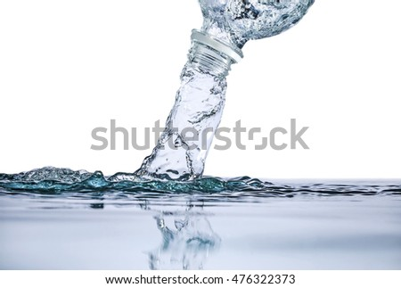 Water flowing from a bottle