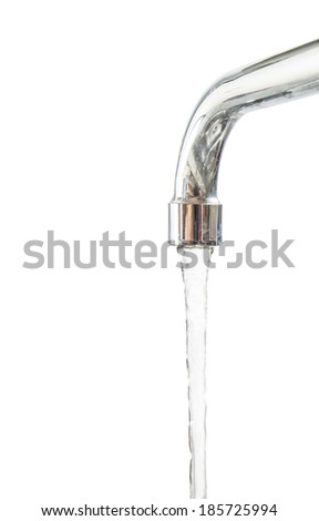 Water flowing from a kitchen faucet - stock photo