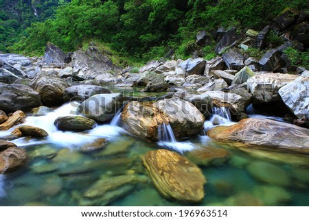 Water flowing over rocks near a leafy forest. - stock photo