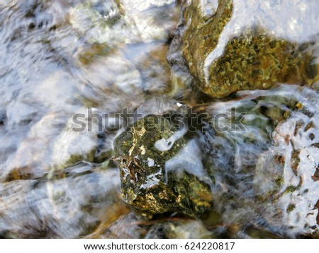 Water flowing over stones