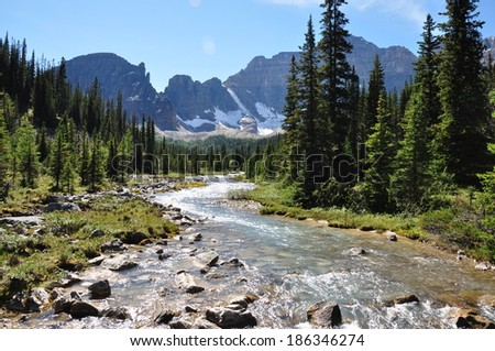 Water flows in Alberta's Rockies, Canada - stock photo